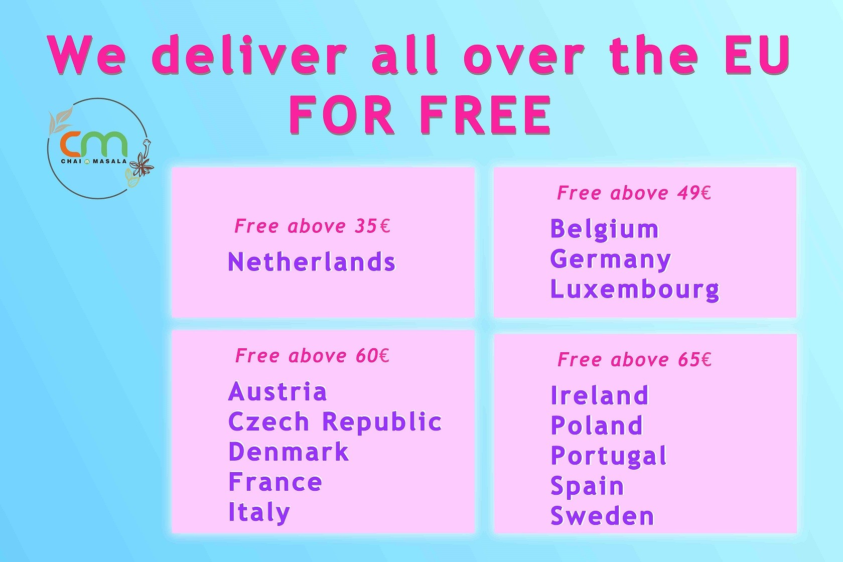 Free Shipping all over EU above order limits
