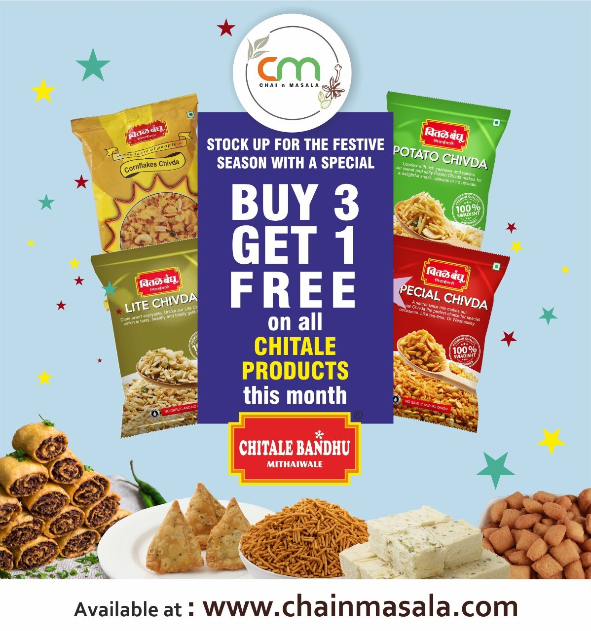 Buy 3 Get 1 free on All Chitale items this month
